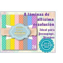 8 Láminas Decoupage Diseño Scrapbook Puntitos Puntos Dot 2x1