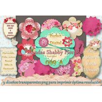Kit Imprimible 9 Blondas Flores Shabby Chic Vintage Tarjetas