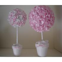 Topiarios / Arbolitos Con Flores De Tela