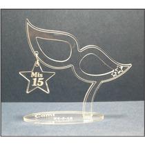 Souvenir Acrilico Antifaz Estrella 15 Años Boda X10 Unid