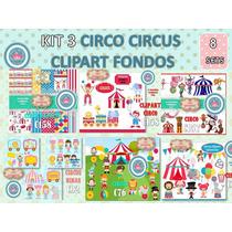 1 Kit Imprimible X 8 Sets Circo Decoraciòn Cuarto Niños 8x1