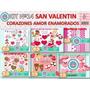 1 Kit Imprimible X 6 Sets San Valentin Decoracion Vidrieras