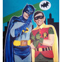 Batman Y Robin 1966 - Pintura Original-solo Fans Adam West