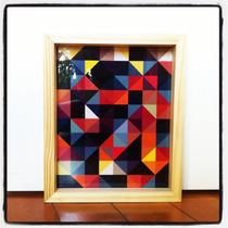 Cuadro 23x28 Lamina Diseño Pattern Marco Madera Natural