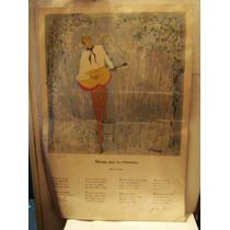 Serigrafia Firmada De Mario Grandi Con Poema Jorge L Borges