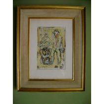 Antiguo Dibujo Firmado Cuadro Pintura Oleo Acuarela
