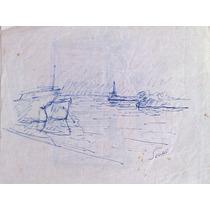 Ernesto Scotti Dibujo Original Tinta Sobre Papel 27 X 20cm