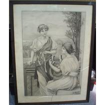 Antiguo Dibujo Carbonilla Y Lápiz - Original De Fr. Slezâk