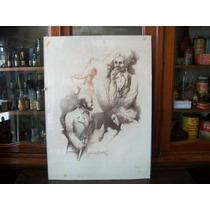 Antiguo Cuadro Dibujo Firmado Gonzalez Quintela