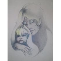 Antiguo Dibujo En Lápiz Maternidad Firmado Sin Marco Mirá!!