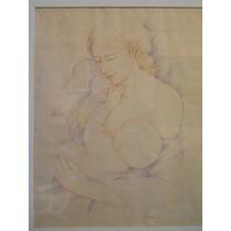 Ernesto Pesce Original Dibujo Lapiz Color Maternidad C/marco