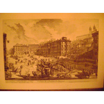 Antiguo Grabado Veduta Di Piazza Di Spagna, Piranesi 1800