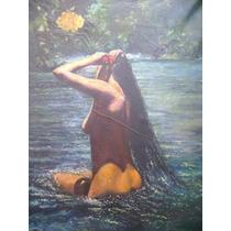 Antiguo Cuadro Pintura De Mujer Al Óleo Desnudo