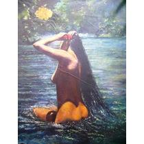 Antiguo Cuadro Pintura Oleo Antiguo Mujer Desnudo