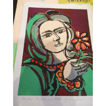 Bruno Venier Serigrafia Firmada En Lapiz Mujer Con Flor