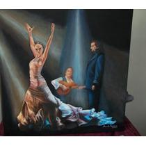 Cuadro Al Oleo Original Danza Flamenca