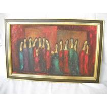 Excelente Oleo Cubismo Grupo De Mujeres Envíos