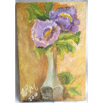 Oleo Sobre Madera Florero Flores Violetas 27 X 18 Cm