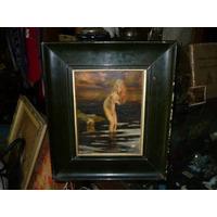 Antiguo Cuadro Oleo Mujer Desnuda Copia De Epoca Paul Chabas