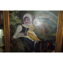 Antiguo Oleo Sobre Madera De Madre Con Su Niño En Caballo