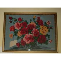 Impactante Tela Sesentosa Bouquet Rosa Retro Vintage C Marco