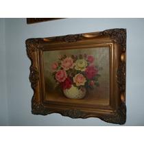 585- Cuadro Oleo Marco Frances Motivo Floral