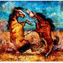 Lucha Feroz De Potros Oleo0.35x0.35 Mts Carlos Pfeiffer