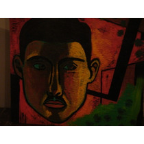 Obra De Iglesias Brickles,personaje 50x50 Xilopintura