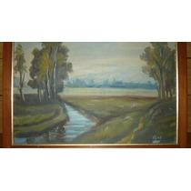Pintura Óleo En Tela, Antigua (firmada Por El Autor)