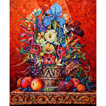 Flores En Una Vasija Americana Oleo Sobre Tela 0.60x0.50mt