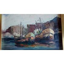 Barcos La Boca Oleo Original Artista Rodolfo Angel Luis