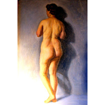 Antiguo Cuadro Oleo Mujer Desnuda 55 X 70