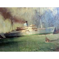 Hermoso Cuadro Pintura Oleo Barco Marina Puerto 1950 Dodero?