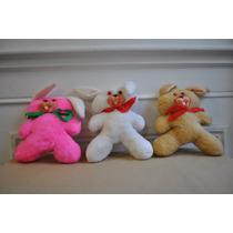 Lote 3 Conejos Peluche Retro Vintage Dec 80 Diferentes Color