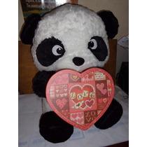 Oso Panda De Peluche Con Caja De Corazon Importado Nuevo