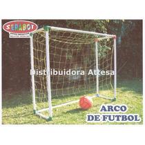 2 Arcos Fútbol Infantil Serabot En Caja. 1 Pelota Fútbol Pvc