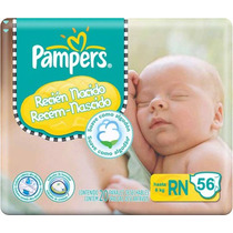 Pañales Pampers New Born Hasta 6 Kg (56u) (reemplaza Xp)