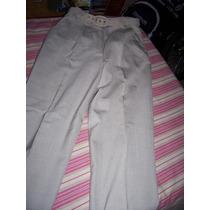 Pantalon De Fibrana Color Hueso Con Cinturon 1 Postura Real