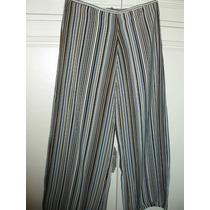 Pantalón De Vestir - Rayado - Tiro Bajo - Talle M