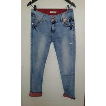 Pantalon Jeans Botamanga Combinado Elastizado