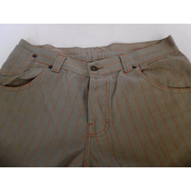Pantalon A Rayas Gabardina Corte Jeans Hombres Talle M