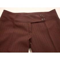 Pantalon De Vestir Formal De Mujer Talle 2/m Chocolate Nuevo