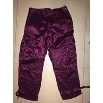Rapsodia - Pantalon Cargo Purpura De Raso Capri - Talle 28 M