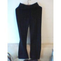 Pantalón Negro A Rayas Naranja De Paño De Lana Tipo Palazzo.