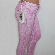 Pantalon Chupin De Gabardina Color Lila Batik Tuci