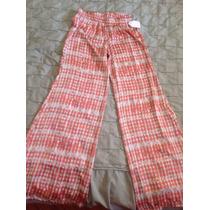 Pantalon Palazzo Oxford Algodón Y Seda Rosa/blanco Nuevo