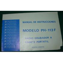Manual Usuario Radio Grabador Casettes Portatil Fisher Ph113