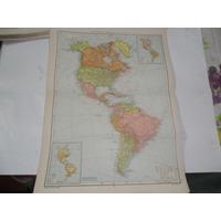 Continente Americano Politico Escala Plano Mapa Lamina 1969