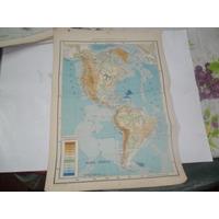 Continente Americano Fisico Escala Plano Mapa Lamina 1969