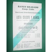 Bragado Boleta Elecciones Banco Bragado Lista Celeste Blanca